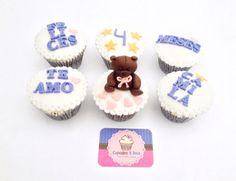 Osito fondant, bear fondant, Cupcakes aniversario.