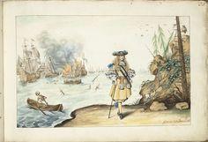 Gesina ter Borch | Moses op de kust bij Harwich, Gesina ter Borch, in or after 1667 - in or before c. 1687 | Moses op de kust bij Harwich, met de Dood naar hem toe roeiend op een zee vol oorlogsschepen in gevecht.