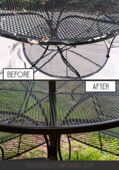 Tired of cracked, peeling paint or rust spots on your patio furniture? Painting metal outdoor furniture is easy; here's how to remove the rust and spray paint your cast iron patio furniture to give it a brand new look in 2 hours or less! Painting Patio Furniture, Painted Outdoor Furniture, Patio Furniture Makeover, Metal Patio Furniture, Furniture Fix, Patio Furniture Cushions, Garden Furniture, Furniture Ideas, Furniture Layout