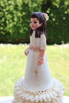 Good Little Communion Girl - Cake by Delicut Cakes Communion Cakes, Fondant Figures, Strawberries And Cream, Buttercream Cake, Flower Girl Dresses, Sweets, Wedding Dresses, Fashion, Buttercream Ruffles