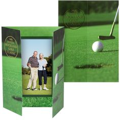 Golf Theme Folders  Personalized photo holders & paper frames for golf tournaments, theme parties & events. Protect, present & display those photos in a cardboard paper golf photo frame with your event/company name or logo, or recognize sponsors by adding their names. With inexpensive bulk discount pricing, these frames and folders are affordable golf tournament favors.