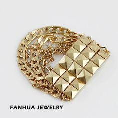 Designer Jewelry New Fashionable Gold Plated Alloy Chain Spike Punk Style Bracelets and Bangles for Women $3.29