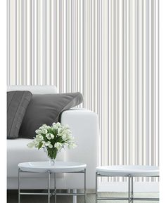 This Martez Stripe Wallpaper in complimentary shades of grey has matte and metallic elements to give the traditional design a modern twist. Free UK delivery available