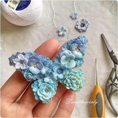 mariposas tejidas al crochet flores