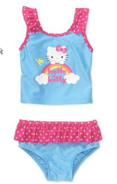 Hello Kitty Girls' 2-Piece Rainbow Tankini