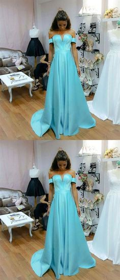 baby blue off shoulder prom party dresses, chic long formal gowns, fashion evening dresses. Prom Dresses 2018, Cheap Prom Dresses, Prom Party Dresses, Party Gowns, Trendy Dresses, Simple Dresses, Elegant Dresses, Occasion Dresses, Ball Dresses