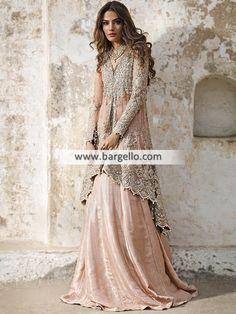 Latest Designer Bridal Dresses - Peachy Pink Back Trail Shirt - Sharara Pakistani Party Wear, Pakistani Couture, Pakistani Wedding Dresses, Pakistani Outfits, Wedding Party Dresses, Indian Dresses, Dress Party, Indian Outfits, Wedding Reception