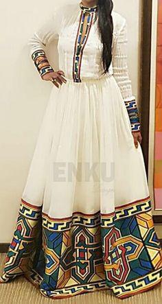 African Print Dress Designs, Dress Neck Designs, African Print Dresses, African Wear, African Attire, African Fashion Dresses, African Dress, Ethiopian Wedding Dress, Ethiopian Dress