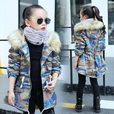 31.49$  Watch now - http://aliojo.shopchina.info/go.php?t=32754652489 -  2017  Autumn Winter Girls Camouflage Denim Hooded Coat For Kids Warm Jacket Outerwear Children Clothing Coats 5-14Year 31.49$ #buyonlinewebsite