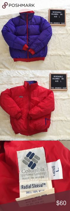 Vintage Reversible Columbia Jacket Vintage reversible jacket. Purple and red with zip pockets on both sides. Down does show through on red side but is not super noticeable (pictured) Columbia Jackets & Coats Ski & Snowboard