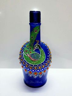 Glorious Blue Pottery Vases Ideas is part of Bottles decoration - Brilliant Blue Pottery Vases Ideas Glorious Blue Pottery Vases Ideas Glass Bottle Crafts, Wine Bottle Art, Diy Bottle, Glass Bottles, Blue Pottery, Pottery Vase, Vase Design, Bottle Painting, Pottery Painting