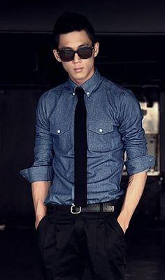 Korean Style Men Long Sleeve Skinny Dark Blue Jean Shirt M/L/XL/XXL @1919SJC14dbl