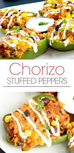 Chorizo Stuffed Peppers - A Delicious Mexican Main Dish. These Chorizo Stuffed Peppers are a new delicious take on the classic with spicy chorizy, melty cheeses, corn and black beans. Pork Recipes, Mexican Food Recipes, Cooking Recipes, Healthy Recipes, Bariatric Recipes, Recipies, Mexican Main Dishes, Clean Eating, Healthy Eating