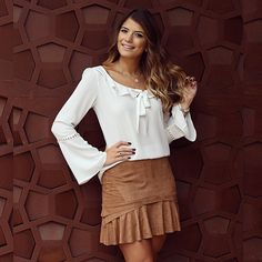 De hoje!! Saia de chamois + camisa aqui na @donnaritzoficial • #lancamentodonnaritz #blogtrendalert