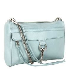 Rebecca Minkoff MAC Clutch in Baby Blue with Silver Hardware Rebecca Minkoff Handbags, Baby Blue, Purses, Mac, Hardware, Silver, Jewlery, Addiction, Style