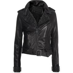 LUXURY IS DEAD Harrison Black Studded leather jacket ($1,825) ❤ liked on Polyvore featuring outerwear, jackets, leather jackets, tops, coats, black slim jacket, leather jacket, black studded jacket, black leather jacket and real leather jacket