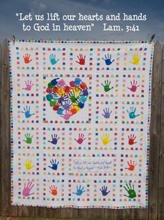 """Class auction quilt.  """"Heart and Hands""""  link to lots of process pix!"""