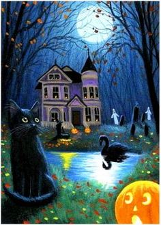 Black cat witch ghost haunted house Halloween moon original aceo painting art Love the black swan Halloween Moon, Halloween Artwork, Halloween Painting, Halloween Pictures, Halloween Wallpaper, Halloween Season, Holidays Halloween, Halloween Themes, Vintage Halloween