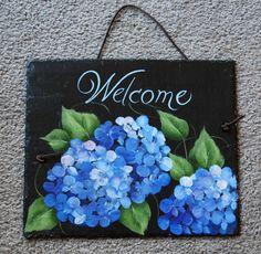 Blue+Hydrangea+Slate+by+maureenbaker+on+Etsy,+$32.00