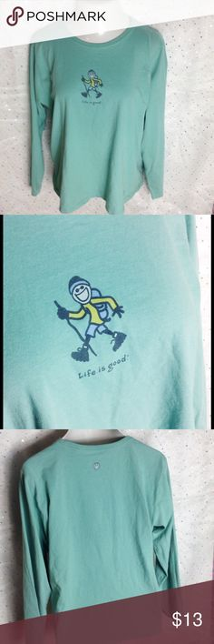 XL Aqua Life is Good Long Sleeve Tee Hiking Chill ax with this fun hiker.  Muted aqua color, long sleeves.  Relaxed fit, not snug.  100% cotton.  Great pre-loved condition. Life is Good Tops Tees - Long Sleeve