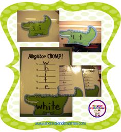 Sharing Kindergarten: Alligator CHOMP!  Here is a cute idea for learning sight words; could be adapted to be done around the house as well.
