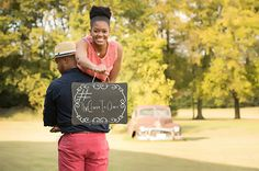 """This Save the Date Photo by Forever Images is too adorable. The """"Chase is over"""" sign is a cute touch. To see more from Forever images, click the image. Photo Credit: Forever Images"""