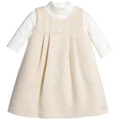 Chloé Baby Girls Ivory Pinafore with Roll Neck Top ❤ liked on Polyvore