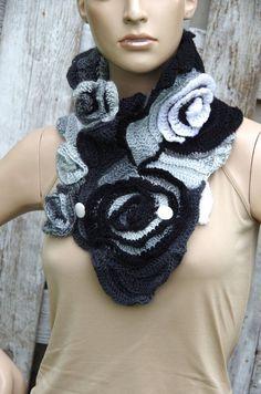Crochet  Scarf Capelet Cape Black Grey White  Neck Warmer Freeform crochet  Women  Freeform Crochet Roses