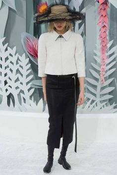 Eye-catching hats stood out at the Chanel Couture Spring '15 show.