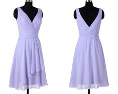 Simple A-line V Neck Short Chiffon Lavender Bridsmaid Dress Knee Length sold by dreamdressy. Shop more products from dreamdressy on Storenvy, the home of independent small businesses all over the world.