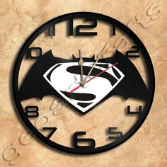 Batman vs Superman Wall Clock Clock Vinyl Record Clock home decoration housewares Upcycled Gift Idea by geoartcrafts on Etsy