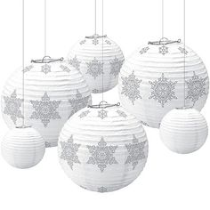 Set an elegant winter scene with Winter Snowflake Paper Lanterns! Snowflake paper lanterns include solid and snowflake print paper lanterns in silver and white. Snowflake Party, Snowflake Decorations, Christmas Decorations, Winter Party Themes, Winter Parties, Winter Theme, Online Party Supplies, Kids Party Supplies, Winter Schnee