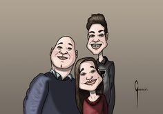 Ilustración por encargo. Caricatura familiar, 2017.
