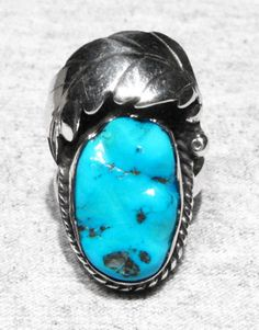 Inexpensive Blue Turquoise Sterling Silver Overlay 10 Grams Ring Size 7.5 US Handmade Jewelry Sizable