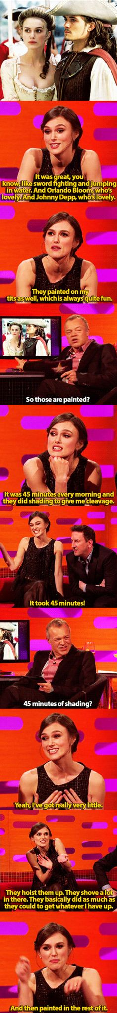 Funny pictures about Keira Knightley Is Apparently A Canvas. Oh, and cool pics about Keira Knightley Is Apparently A Canvas. Also, Keira Knightley Is Apparently A Canvas photos. Funny Quotes, Funny Memes, Jokes, That's Hilarious, Memes Humor, Johnny Depp, Flat Girl Problems, American Horror Story, Youre My Person