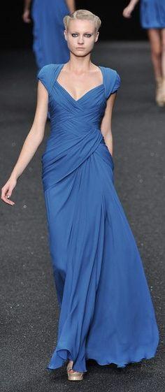 ELIE SAAB RTW SS 2010 | blue silk gown with drape