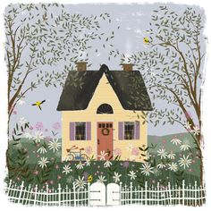 garden illustration Yellow House on a Hill Joy Laforme Art And Illustration, Cottage Art, Yellow Cottage, Yellow Houses, Landscape Artwork, House On A Hill, House Joy, House Drawing, Gouache
