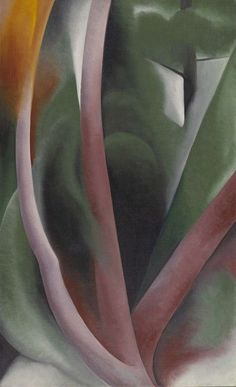 Birch and Pine Trees Pink by Georgia O'Keeffe, 1925. Oil on canvas, 36 by 22""