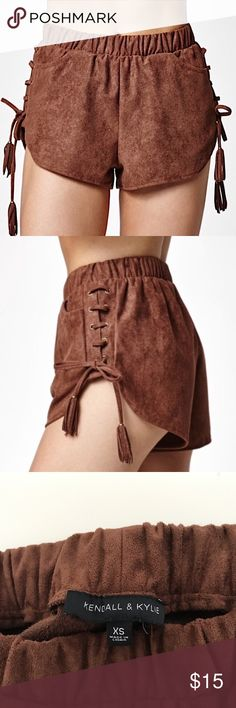 KENDALL & KYLIE LACE UP SHORTS Faux suede lace up brown shorts. Kendall & Kylie Shorts