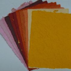 THICK mulberry paper PAPER PINKS REDS PEACHES ORANGES CLARET card