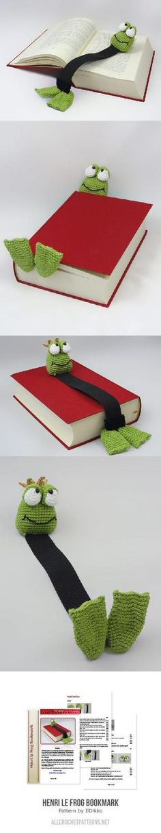 PURCHASED pattern - CROCHET - Henri Le Frog Bookmark Crochet Pattern ~ intermediate level ~ step-by-step pictures ~ isn't he the cutest! those eyes - those feet! Crochet Bookmarks, Crochet Books, Crochet Home, Crochet Gifts, Diy Crochet, Crochet Ideas, Yarn Projects, Knitting Projects, Crochet Projects