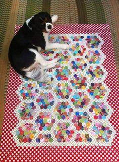 """Baby quilt, 5/8"""" hexagons."""