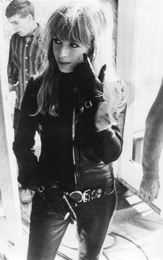 Marianne Faithfull on the set of Girl on a Motorcycle | 1967