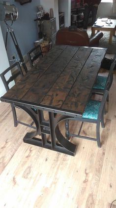 Search for farmhouse table designs and dining room tables now. this modern farmhouse dining room table is the perfect addition to any dining table space. Industrial Design Furniture, Industrial Dining, Rustic Furniture, Cool Furniture, Modern Furniture, Furniture Design, Industrial Farmhouse, Distressed Furniture, Farmhouse Furniture