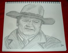 JOHN WAYNE/ GRAPHITE DRAWING SIGNED BY ARTIST   BW  #Realism