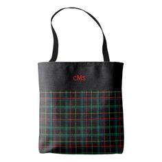 #monogram - #Monogrammed Red Black and Green Plaid Tote Bag