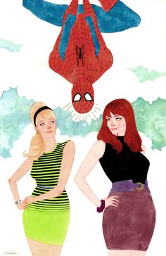 Spider-Man, Mary Jane, and Gwen Stacy by Kevin Wada