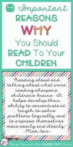 Reading aloud to our children is one of the most important things you can do for them. It is our job as an adult in their life to support their educational success by reading to them from day one. Paige, from Our Elementary Lives, shares 4 very important reason why you should read to your child. You don't want to miss these. Check them out and see why it is so important!