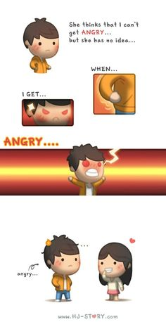 HJ-STORY- i can't get angry . Maybe I'm not as scary as I think… Love Cartoon Couple, Cute Couple Comics, Cute Love Cartoons, Cute Comics, Funny Comics, Cute Cartoon, Chibi Couple, Cute Love Stories, Love Story