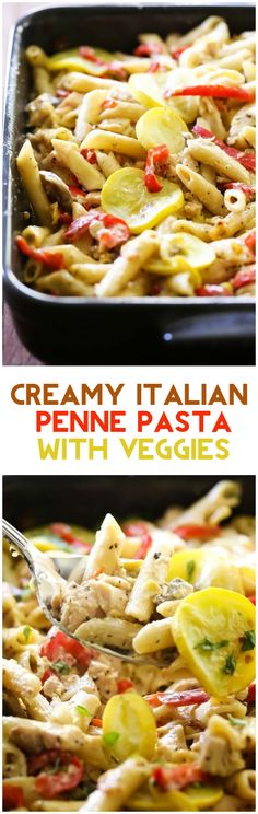 Creamy Italian Penne Pasta with Vegetables... This will be one of THE BEST pasta dishes you ever make in your entire life! The flavor is unbelievably delicious!